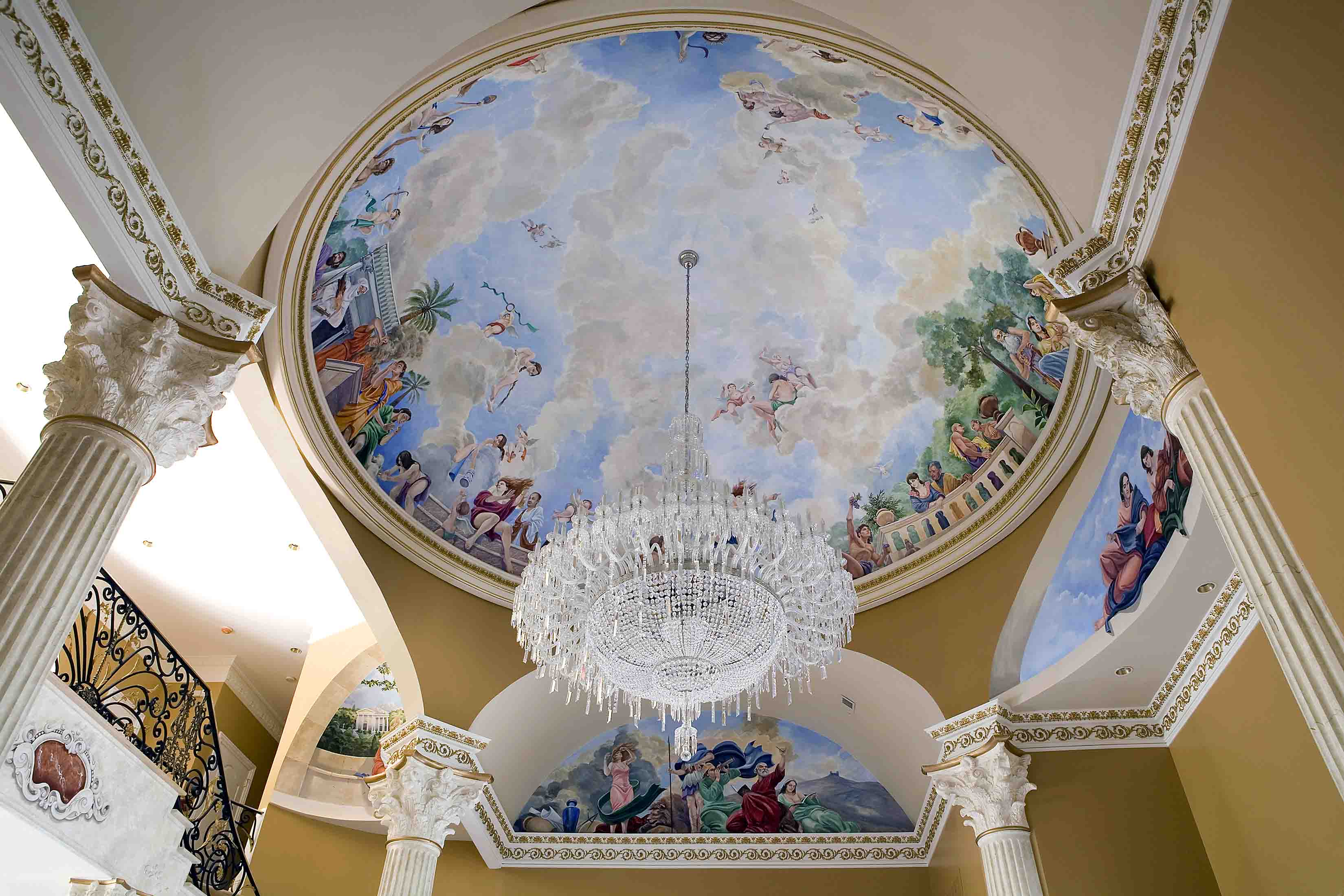Murals painted in dome of foyer in a mansion in Potomac, Maryland