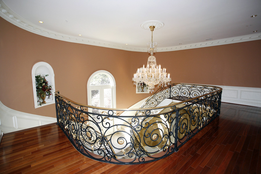 Custom stair railing in mansion in Potomac, Maryland