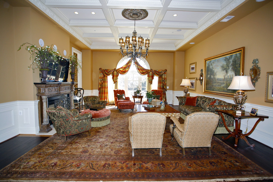 Formal living room in Mansion in Potomac, Maryland