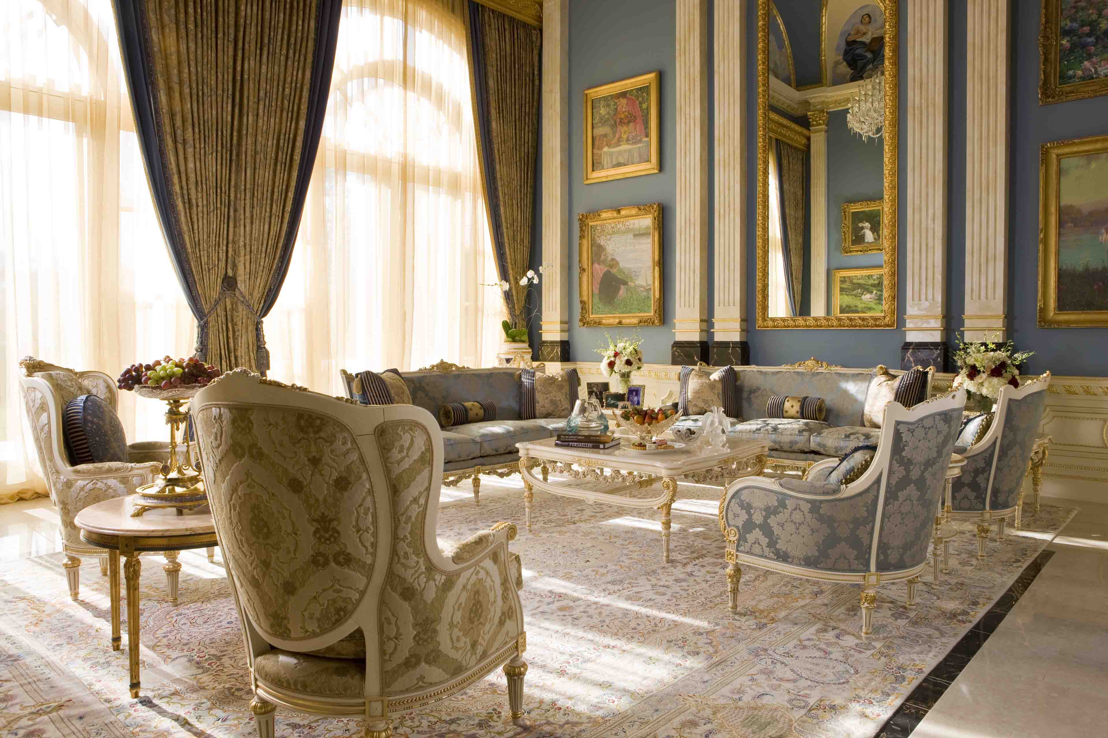 Custom blue and gold classical grand salon in Potomac, Maryland