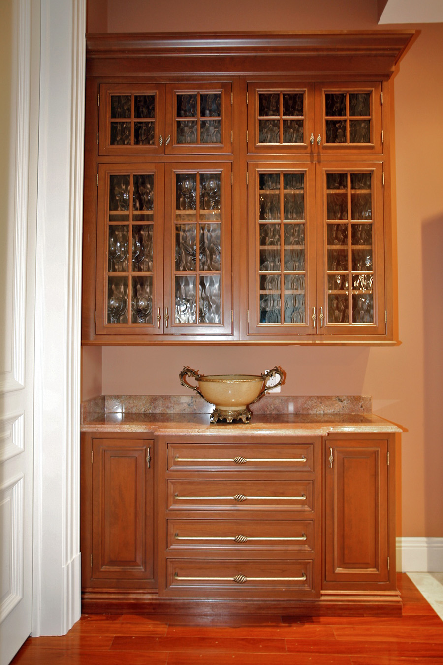 Custom wood cabinets in mansion
