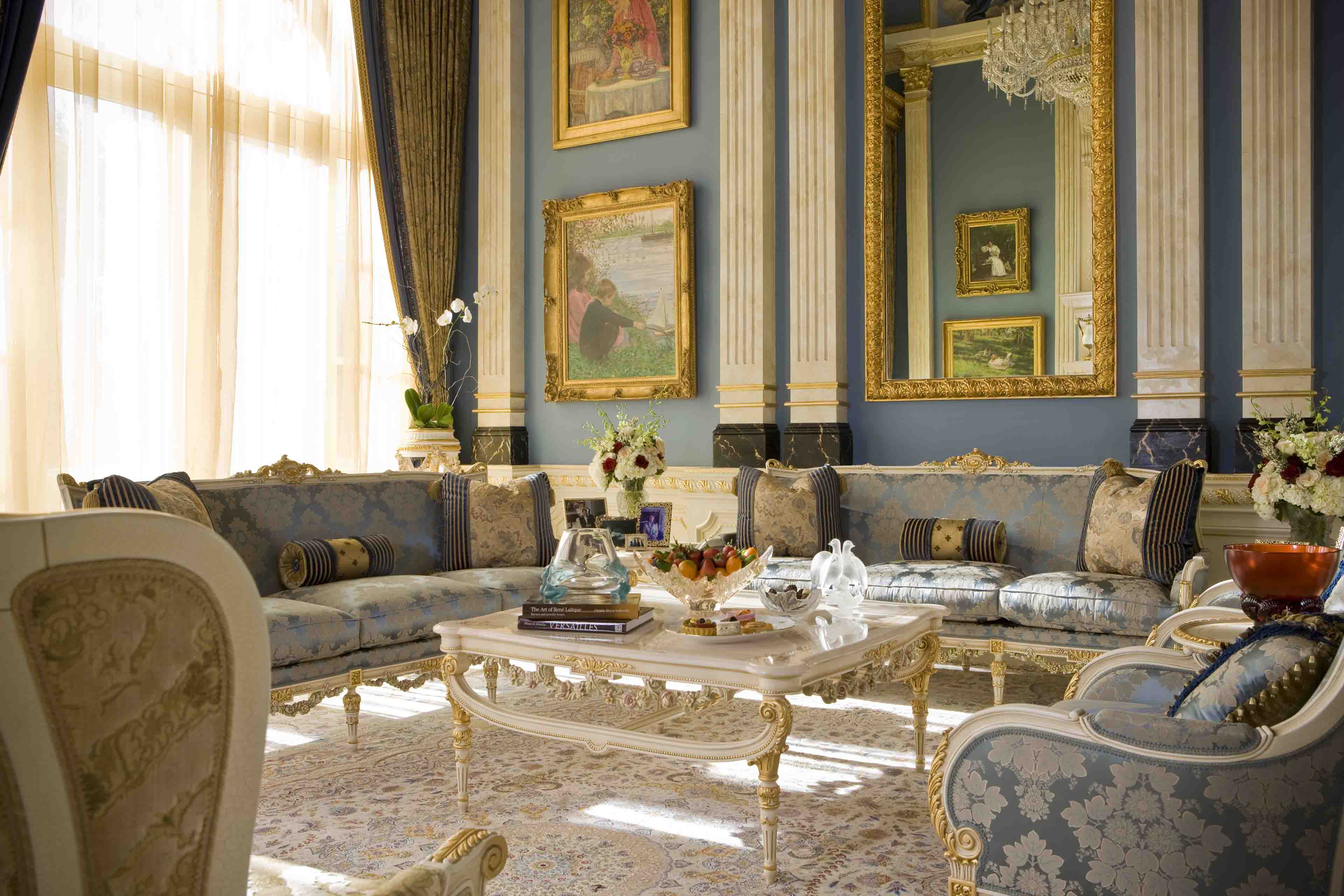 Grand Salon with classical furniture in Luxury Mansion in Potomac, Maryland