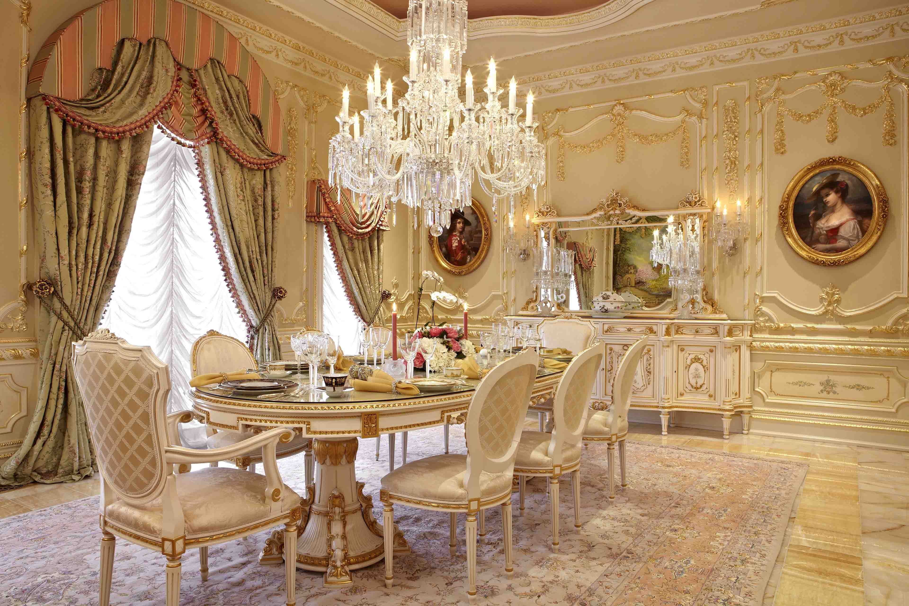 Luxury beige and gold custom dining room in mansion in Potomac, Maryland
