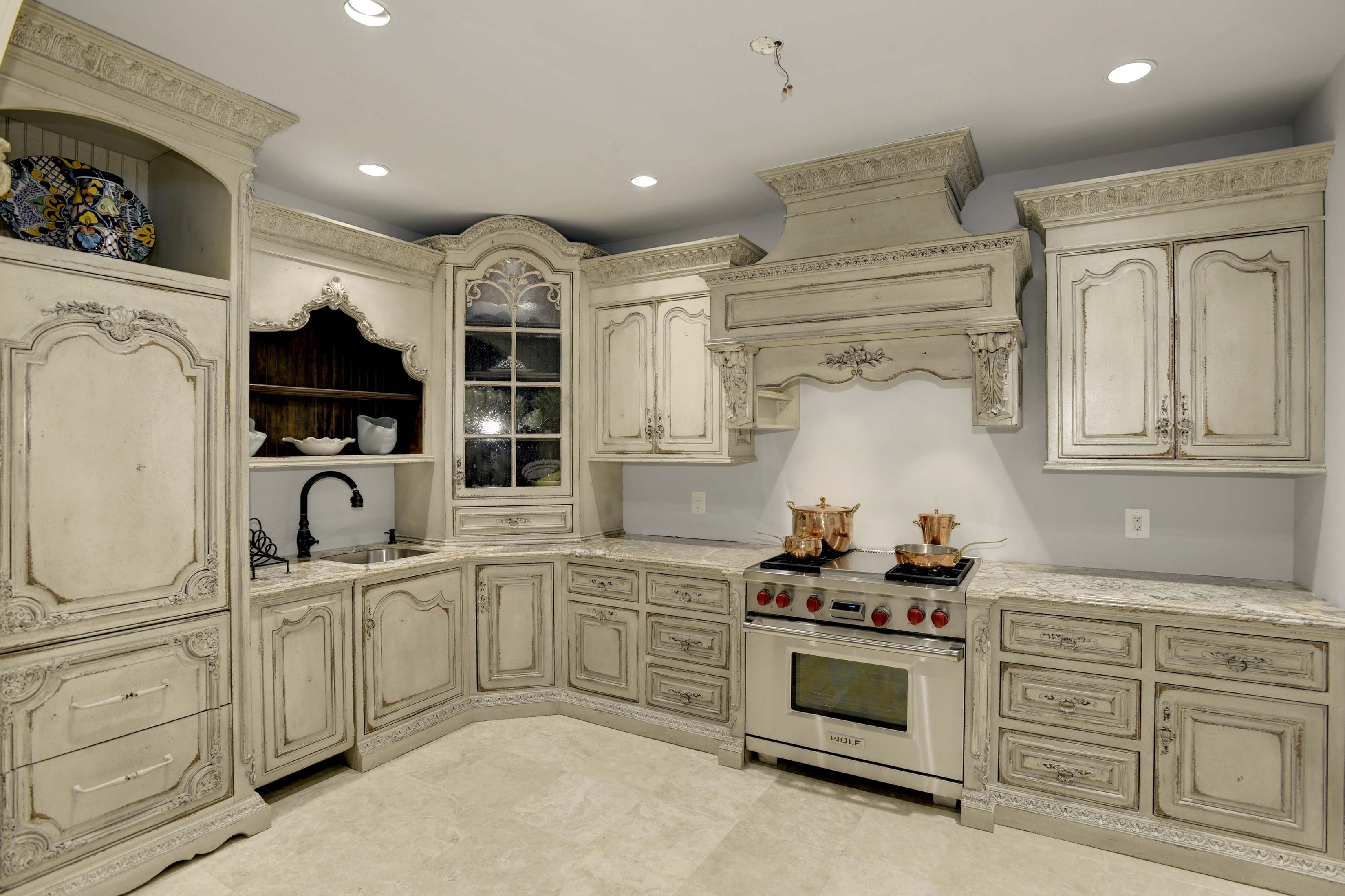 Custom designed second kitchen in mansion in Potomac, Maryland