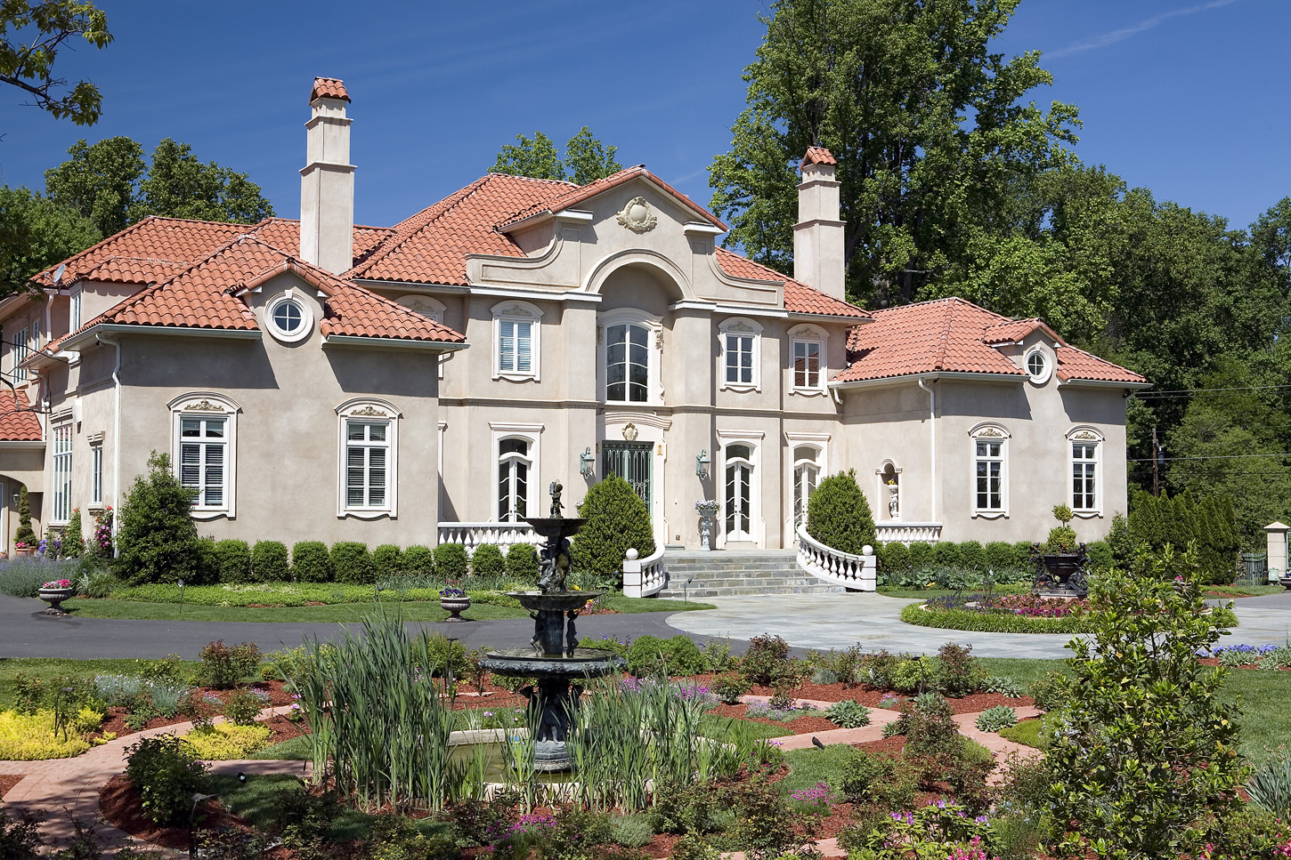 Fountain in circular driveway of a mansion in Potomac, Maryland