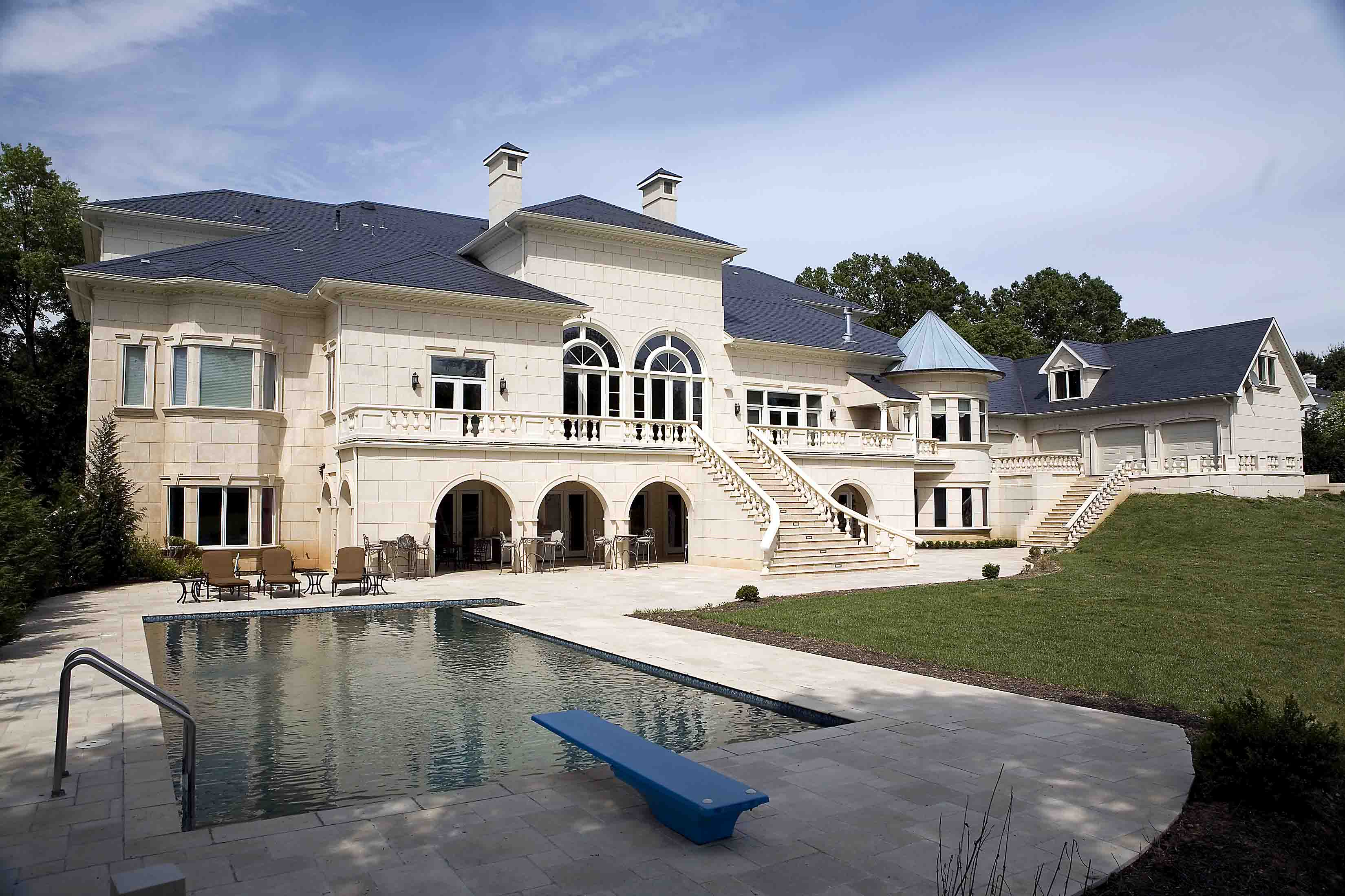 Salt water pool in the backyard of mansion in Potomac, Maryland