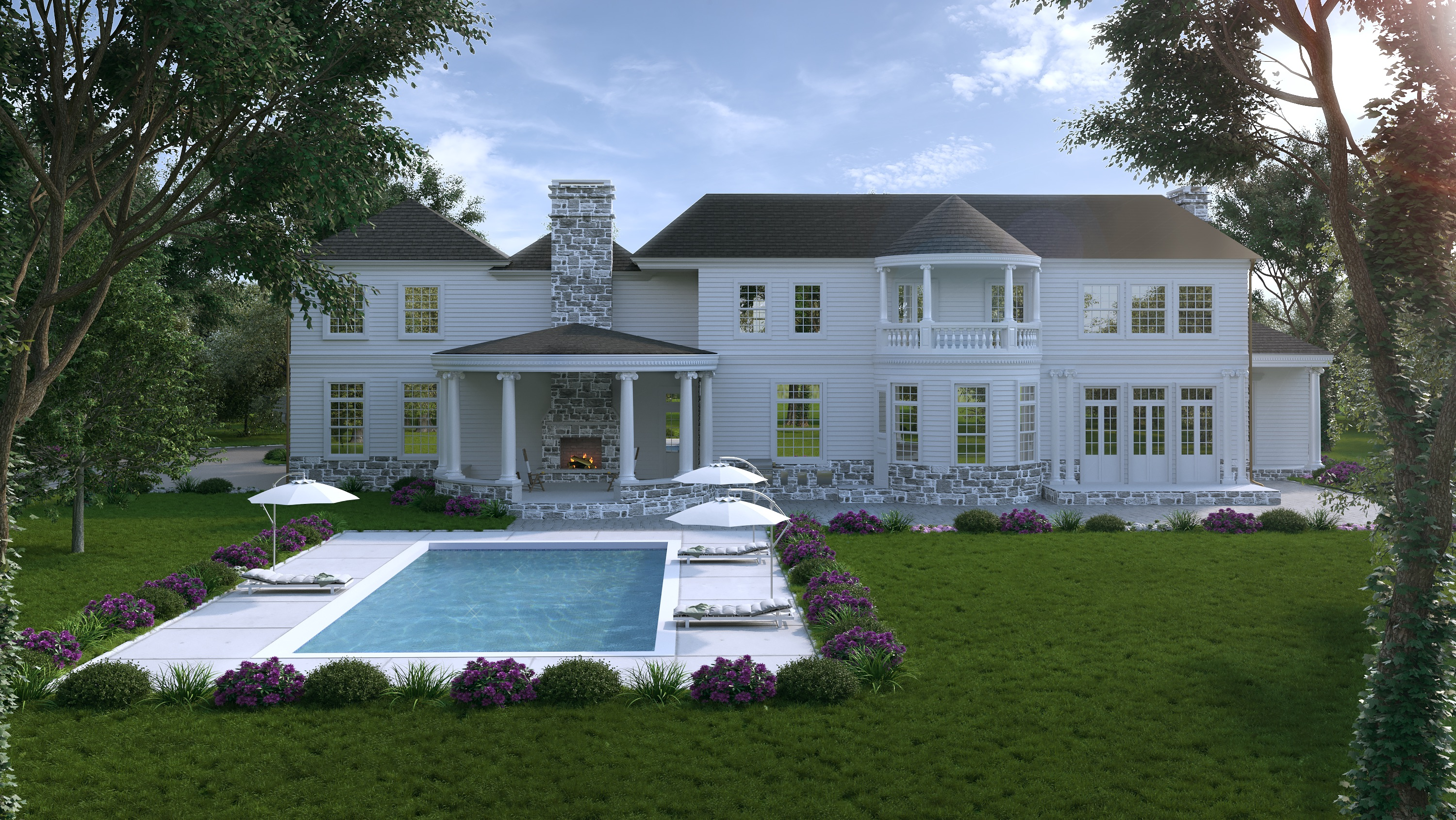 Potomac Home Backyard with Pool Design and Build by NIROO Construction