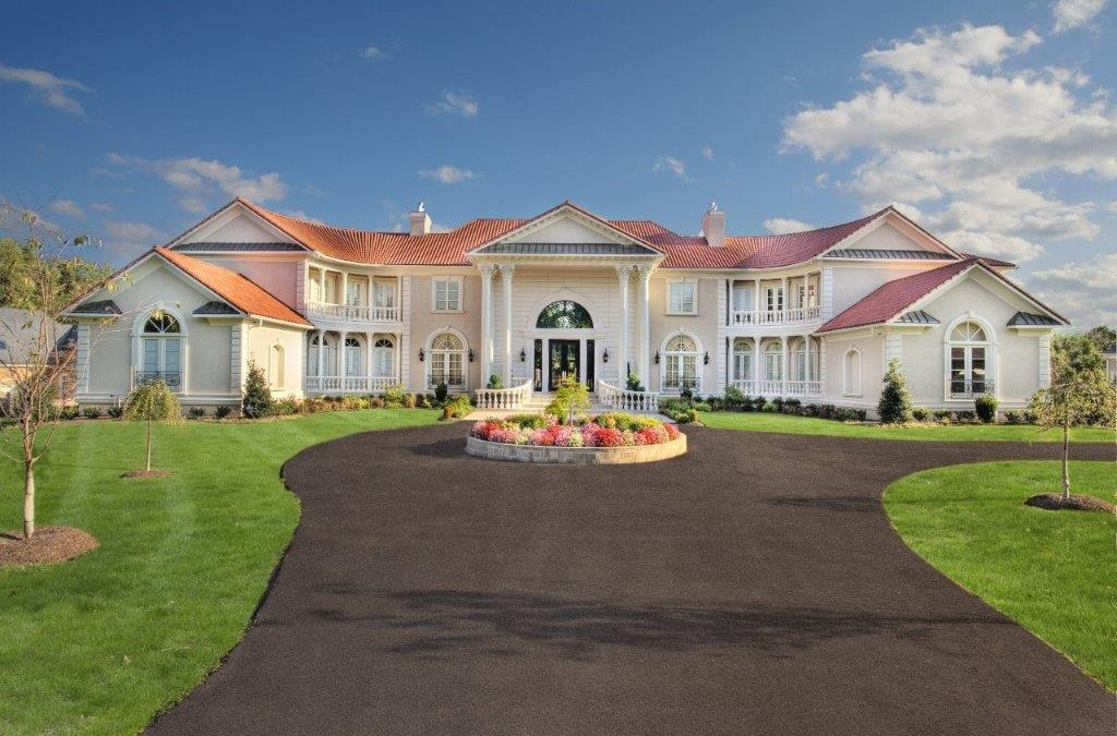 Custom Home Estate entrance with Driveway and landscape. Designed by NIROO in Potomac Maryland