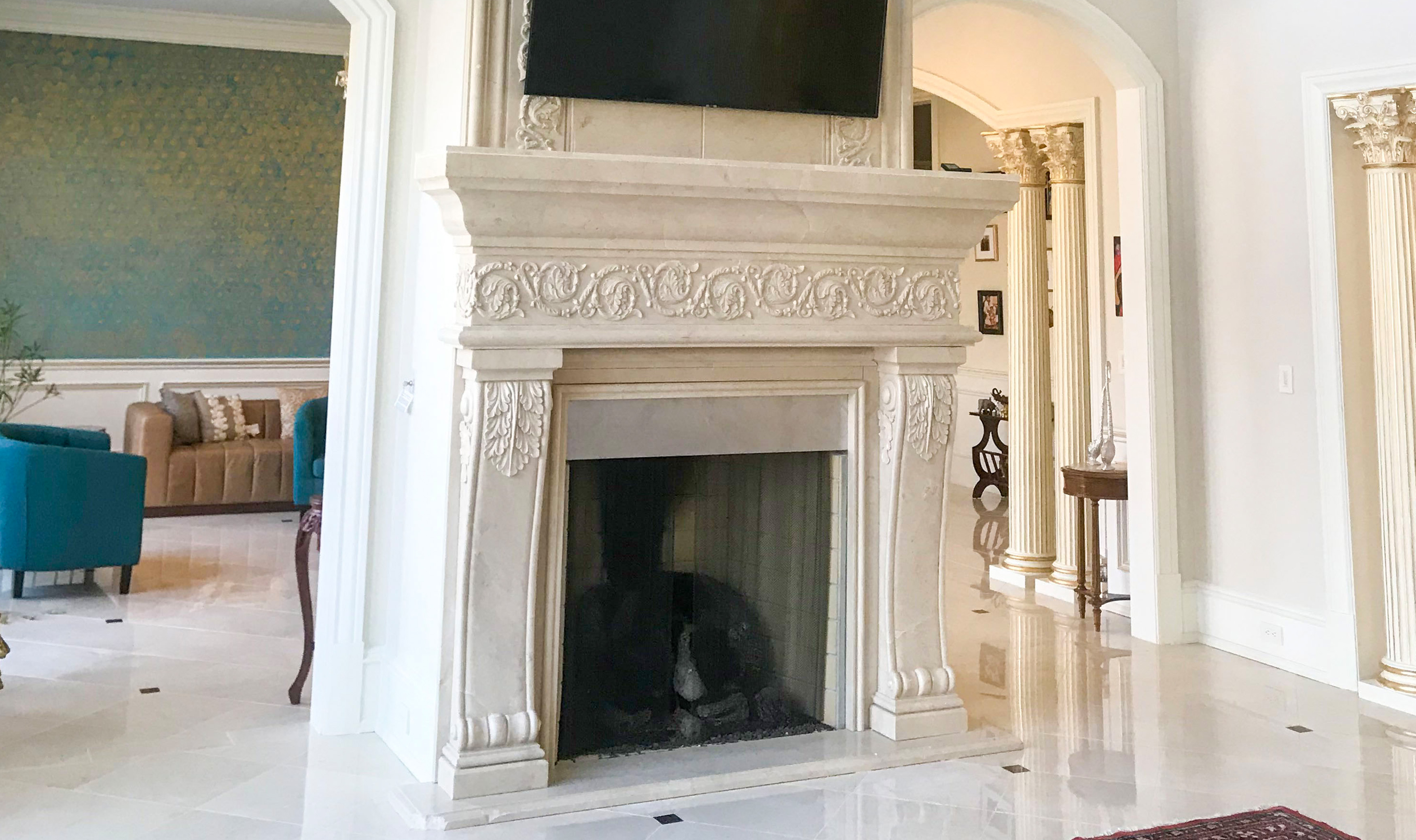 Custom designed fireplace for a mansion in Potomac, Maryland